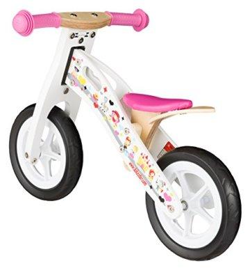 BIKESTAR® Premium Kinderlaufrad für kleine Abenteurer ab 2 Jahren ★ 10er Natur Holz Edition ★ Prinzessinnen Weiß -
