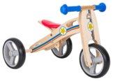 BIKESTAR® Premium Mini Kinderlaufrad (Kombination 2 und 3 Rad) für freche Zwerge ab ca. 18 Monaten ★ 2 in 1 Natur Holz Edition ★ Kleiner Sheriff -