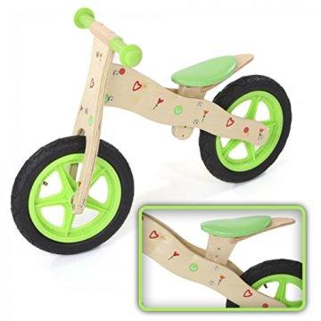 Laufrad Kinderlaufrad Kinder Fahrrad Lauflernrad Lernlaufrad Balance Bike Laufen aus Holz Chopper 12 Zoll in Grün von BABY VIVO -