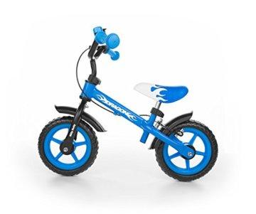 Milly Mally 4751 - Kinderlaufrad 10-Zoll-Räder mit Bremsen und Klingel, blau -